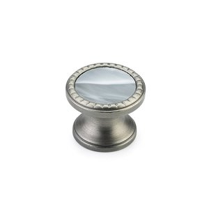"Schaub and Company - Kingsway 1 1/4"" Round Knob in Antique Nickel with Greystone Glass Inlay"