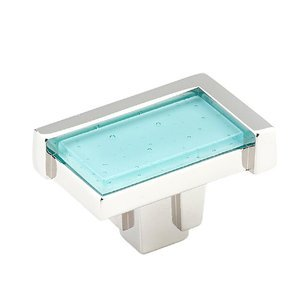 "Schaub and Company - Tallmadge 1 3/4"" Rectangular Knob in Polished Nickel with Turquoise Glass Inlay"