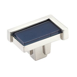 "Schaub and Company - Tallmadge 1 3/4"" Rectangular Knob in Satin Nickel with Steel Blue Glass Inlay"