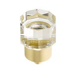 "Schaub and Company - City Lights - 1 1/8"" Diameter Round Multi-Sided Glass Knob in Satin Brass"