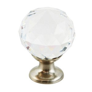 "Schaub and Company - Stargaze - 1 1/8"" Round Knob in Satin Nickel and Clear Crystal"