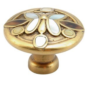 "Symphony Designs / Maitland Smith Hardware by Schaub and Company - Solid Brass Knob, 1 1/2"" with Tiger Penshell and Yellow and White Mother of Pearl on Polished Brass and Antique Brass Finish"
