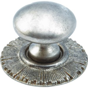 Schaub and Company - Sunburst - Solid Brass burst Knob with Backplate in Silver Antique