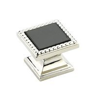 "Schaub and Company - Kingsway - 1 1/4"" Square Knob in Polished Nickel with Classic Black Glass Inlay"