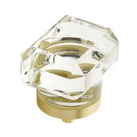 "Schaub and Company - City Lights - 1 3/4"" Rectangular Glass Knob in Satin Brass"
