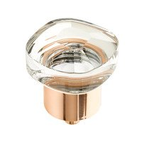 "Schaub and Company - City Lights - 1 1/4"" Soft Square Glass Knob in Polished Rose Gold"