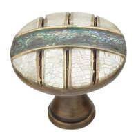 "Schaub and Company - Fair Isle - Solid Brass 1 3/8"" Diameter Round Knob in Aged Dover with Imperial Shell and Mother of Pearl"