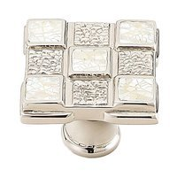 Schaub and Company - Avalon Bay - Solid Brass Square Knob in Polished Nickel with Mother of Pearl