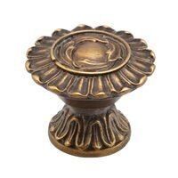 "Schaub and Company - Swan - Solid Brass 1 1/4"" Knob In Dark Italian Antique"