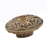 "Schaub and Company - Cantata - Solid Brass 5/8"" Centers Handle with Scrolled Designs with Petals on Base in Monticello Brass"